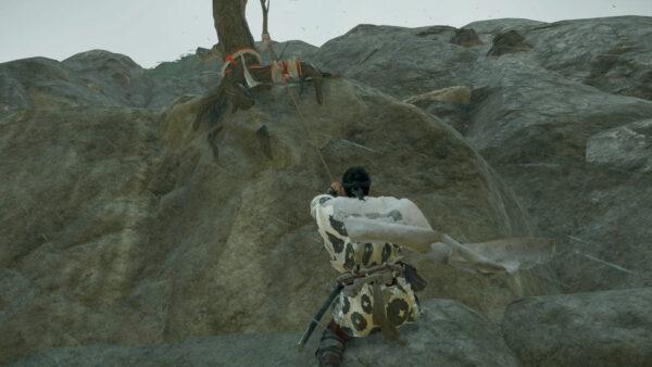 鉤縄を使った崖上り